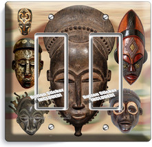 African Ancient Warior Tribe Masks 2 Gfci Light Switch Wall Plate Room Art Decor - $11.69