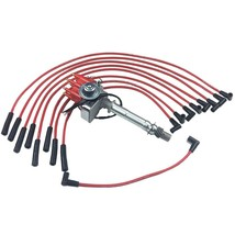 BBC CHEVY 396 454 SMALL CAP DISTRIBUTOR + RED 8mm SPARK PLUG WIRES STRAIGHT BOOT image 1