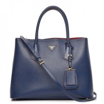 PRADA Saffiano Navy Leather Gold Hardware Tote Bag - $1,484.01