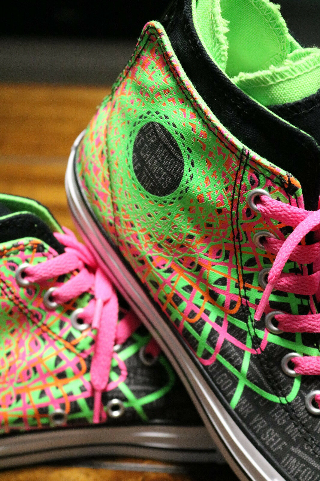 Converse Chuck Taylor All Star Zipback 649963C Black Pink Green Shoes Girls Sz 5 image 10