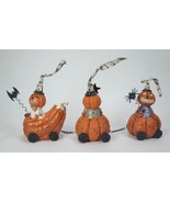 Vintage Pumpkin Train with Engine and 2 Cars Halloween Tabletop Decor - $29.65