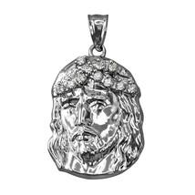 Sterling Silver Jesus Face CZ Pendant (S/L) - $24.99+