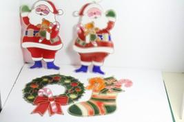 4 Vintage J.S.N.Y. Large Christmas Ornaments 2 Santa Clauses Stocking Wr... - $33.99