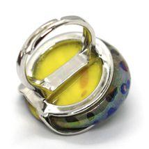 Ring Antica Murrina, Murano Glass, Disco Convex, Yellow Green Blue image 3