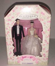 Barbie and Ken Wedding Day – Hallmark Keepsake Ornament Set Bride & Groom 1997 - $5.93