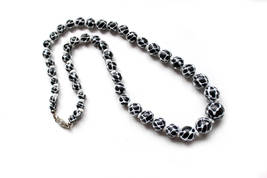 "1950s Italian Venitian necklace art glass beads ""Pizzo"" lace white overlay black - $115.00"