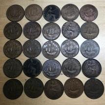 Lot of 25 British Half Pennies (Lot 210) - $12.95
