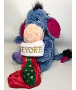 Eeyore Plush Christmas Stuffed Animal w Stocking Winnie Pooh Disney Scar... - $29.99
