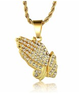"14k Gold Praying Hands Uzi Iced Out Gun Pendant Necklace 24"" Rope Chain ... - $8.81"