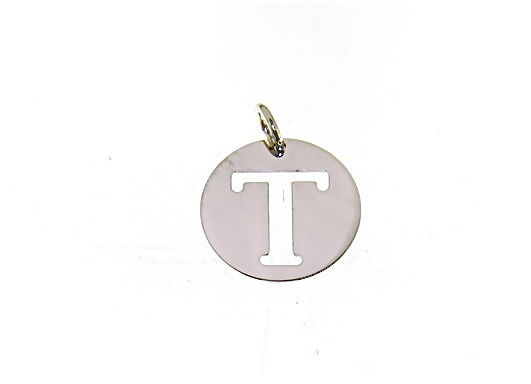 18K WHITE GOLD ROUND MEDAL WITH INITIAL T LETTER T MADE IN ITALY DIAMETER 0.5 IN