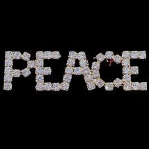 Peace Word Pin Brooch Clear Austrian Crystal Gold Tone Metal Spiritual T... - $24.99