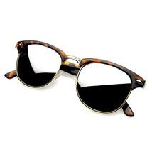 Moda Retro Montura Media Efecto Espejo Gafas Sol Lente Espejada Tonos - $6.22+