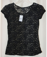 NEW SEXY STRETCH RUE 21 SHEER BLACK FLORAL LACE BLOUSE TOP SHORT SLEEVES... - $9.99