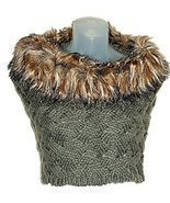 Cable Knit Tube Color Infinity Loop Cowl Neck Scarf w/Faux Fur Trim Wrap - $486,14 MXN