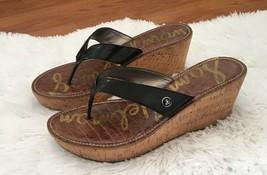 Sam Edelman Romy Cork Wedge Thong Sandals 10 Black Rubber Soles Slides Slip On - $35.64