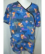 Disney Large Bambi Scrub Top Blue Print Lost in the Woods Cotton Pockets... - $12.82