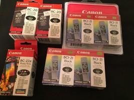 Genuine Canon BC-20 & BCI-21 Black Ink & BC-22E New Lot of 7 Expiration ... - $38.25