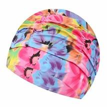 PANDA SUPERSTORE 2 Pack Pleated Swimming Cap Long Hair Cloth Febric Swim Caps Ba