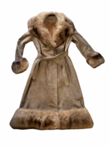 Vintage Women Long Suede Leather Fur Trim Coat Full Length Brown 70s Trench Belt image 2