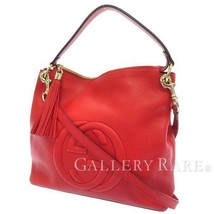 GUCCI Shoulder Bag Leather Red 2Way Soho Interlocking G 536194 Italy Aut... - $1,100.91