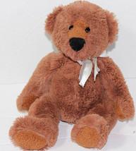 Aurora SHAGGY DARK BROWN TEDDY BEAR WITH BOW Stuffed Plush Animal SOFT T... - $13.06