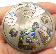 TAXCO MEXICO 925 Silver - Vintage Circular Abalone Shell Brooch Pin - BP... - $56.93