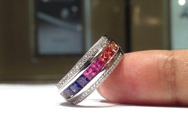 2.00 Carat Rainbow Sapphire Ring set in 925 Sterling Silver