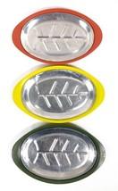 Set of 3 Fajita Sizzler Plates Aluminum w Red Yellow Green Plastic Holde... - $17.63