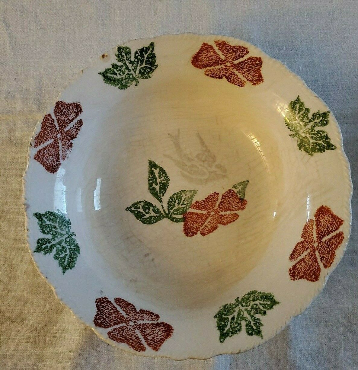 Taylor Smith Taylor Ivory Red Flower Silver Bird Serving Bowl Green Leaves 40s  - $24.75
