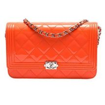100% AUTH CHANEL Boy WOC Quilted Patent Leather Orange Wallet on Chain Flap Bag
