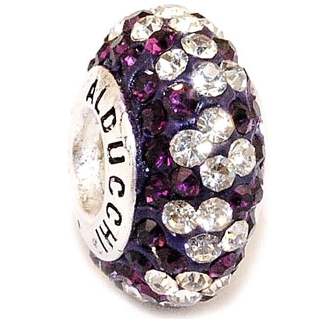 Alducchi Amethyst - Clear Swarovski Crystal .925 Silver European Charm Bead
