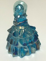 Vintage Wheaton Southern Belle Lady with Hat Blue Carnival Iridescent Art Glass image 2