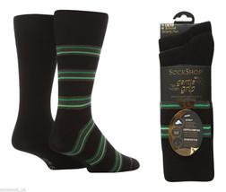 2 Paare Herren Socken Schwarz/Grün doppel Streifen Baumwolle Socken 7-11 - $9.15