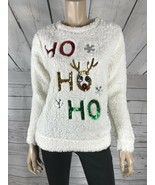 Juniors MISS CHIEVOUS Faux Sherpa Cozy Fleece Bedtime Christmas Sweater ... - $12.88