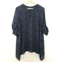 Torrid 00 Keyhole Floral Print 3/4 Sleeve Blouse Black Blue - $21.09