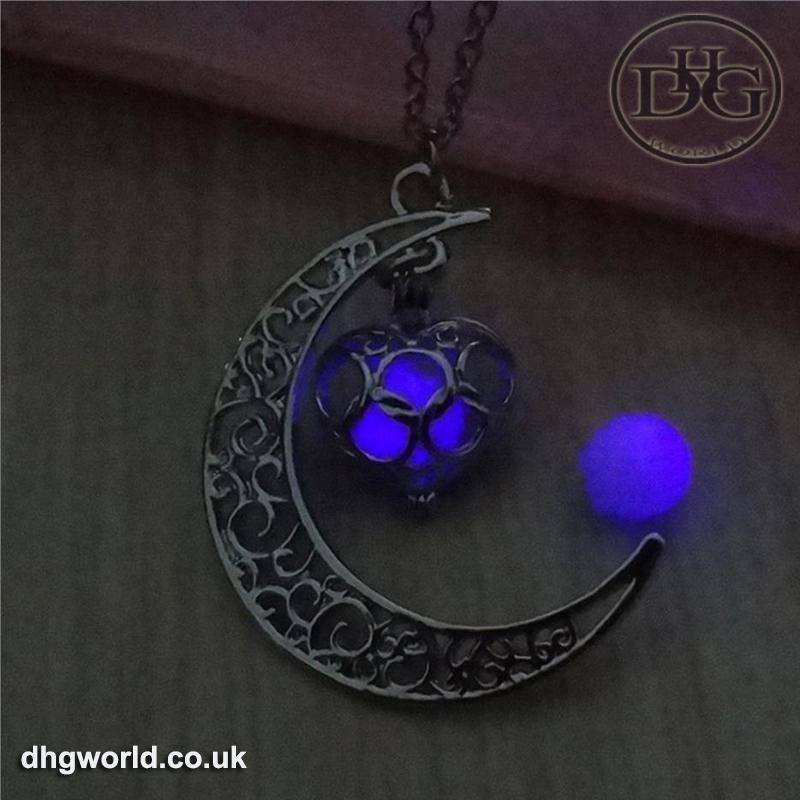 YAKAMOZ Enchanting Moon & Heart Theme Ladies Necklace - Glow in the Dark image 8