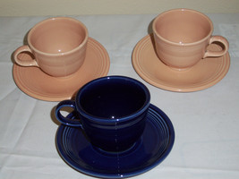 Fiesta Cups and saucers  HLC  USA   dark blue  peach and light pink - $15.48