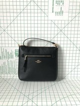 Coach F34823 Pebbled Leather Zip Large Crossbody Bag In Black - $113.00