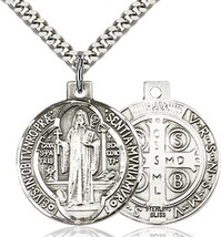 St. Benedict - Pewter - Pendant on a 24 inch Light Rhodium Heavy Curb Chain