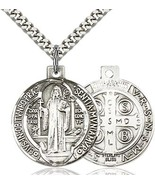 St. Benedict - Pewter - Pendant on a 24 inch Light Rhodium Heavy Curb Chain - $42.99