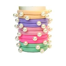 Set of 10 Fashion Durable Beads Seamless Ponytail Holders, Light Color