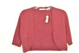 Neiman Marcus sweater M NWT red 100% cashmere shrug bolero cropped $195 new image 7