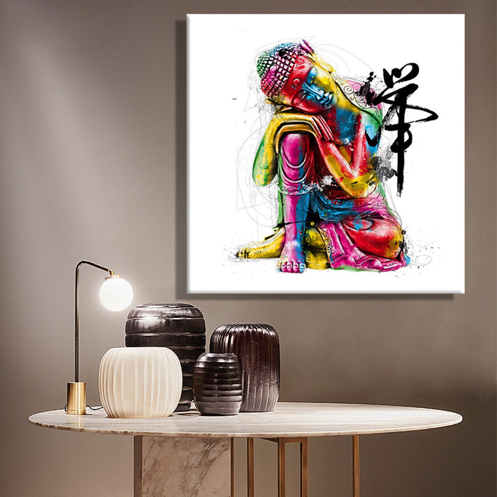 Primary image for Art Oil Painting Colorful Buddha No Frame