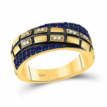 14kt Yellow Gold Womens Round Blue Sapphire Diamond Band Ring 5/8 Cttw - £607.67 GBP