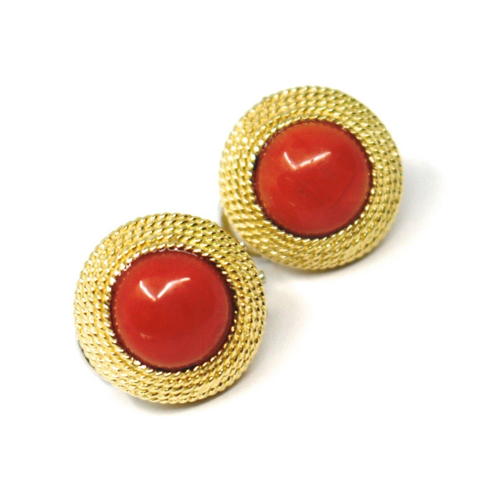 18K YELLOW GOLD BUTTON EARRINGS CABOCHON ROUND RED CORAL WORKED MULTI WIRE FRAME