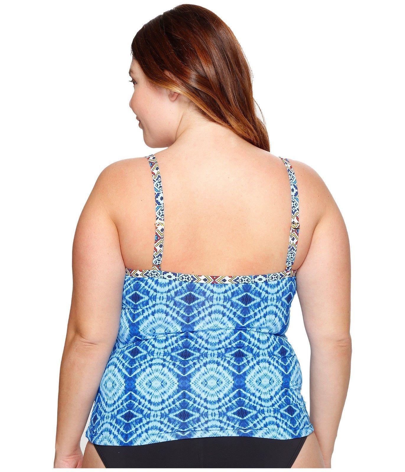 NEW Bleu Rod Beattie Mykonos Blue Underwire Tankini Swim Top size 22W