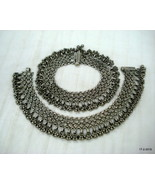 vintage antique ethnic tribal old silver anklet feet bracelet traditiona... - $985.05