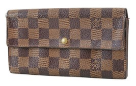 Auth LOUIS VUITTON Sarah Long Wallet Damier Ebene Zippered Coin Purse #3... - $170.10