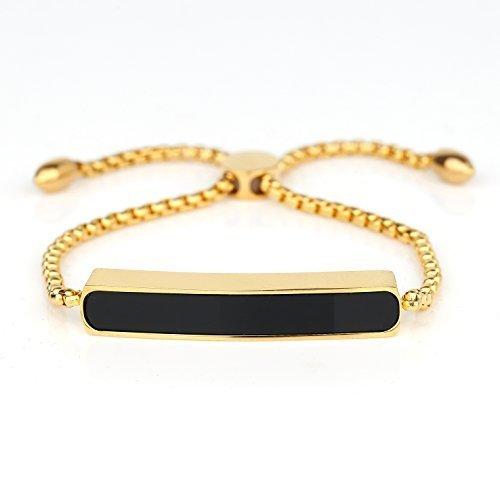 UNITED ELEGANCE Trendy Gold Tone Designer Bolo Bar Bracelet With Jet Black Inlay