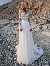 V Neck Long Sleeves Lace Appliques A Line Bridal Gowns Plus Size image 4